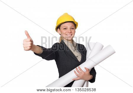 Young architect isolated on white