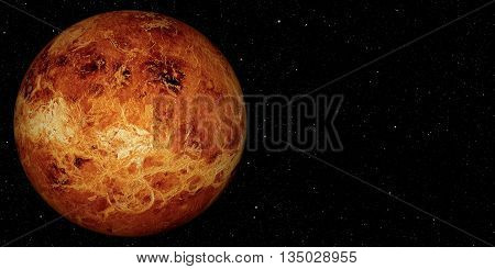 3D render the planet Venus on a space background, high resolution.