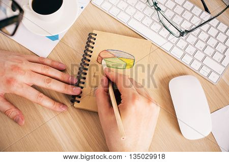 Business Man Drawing Pie Chart