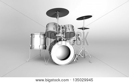Front view of a set of 3D rendered drums in grayscale style