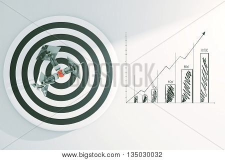 Targeting concept with dartboard dollar banknote darts and business sketch on light background. 3D Rendering