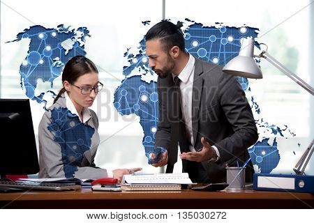 Man and woman discussing problems in globalisation concept