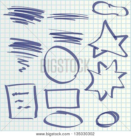 illustration of hand draw set elements maked by marker
