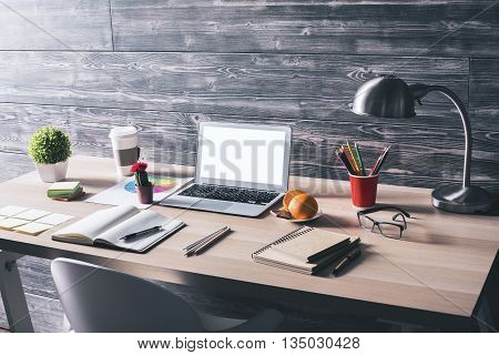 Creative Workplace With White Laptop