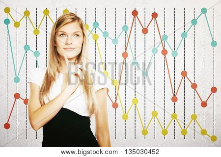 Thoughtful businesswoman on colorful business chart background