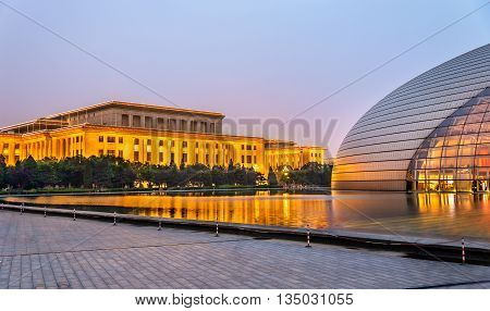 Beijing, China - May 14, 2016: The Great Hall of the People and the National Centre for the Performing Arts