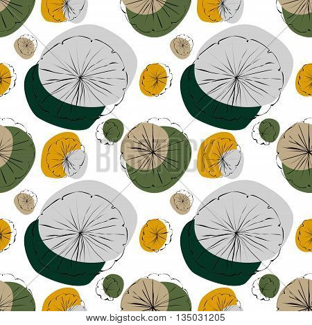Water Lily vector seamless pattern in japanese style