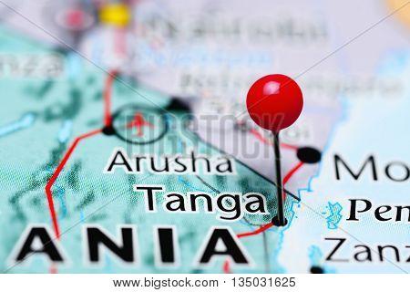 Tanga pinned on a map of Tanzania