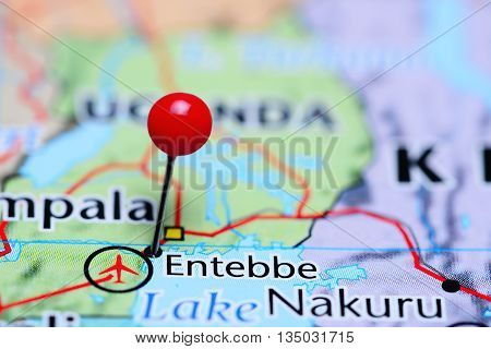 Entebbe pinned on a map of Uganda