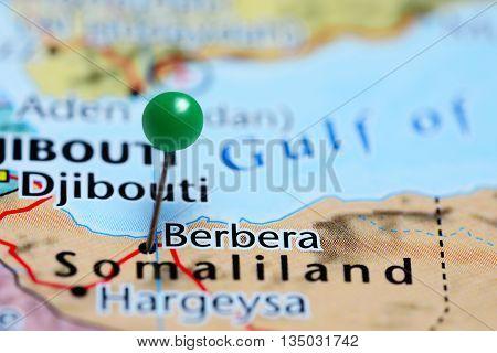 Berbera pinned on a map of Somalia