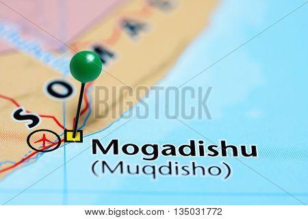 Mogadishu pinned on a map of Somalia