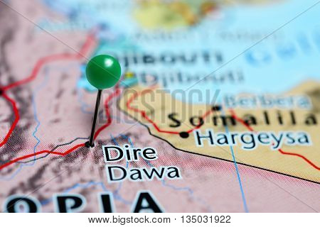 Dire Dawa pinned on a map of Ethiopia