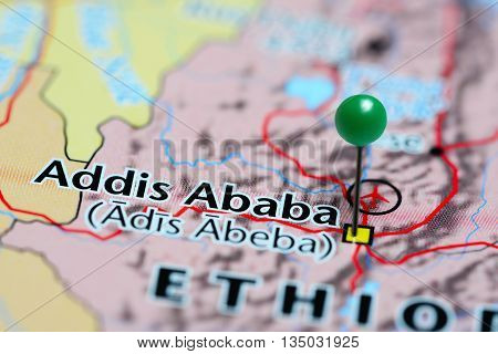 Addis Ababa pinned on a map of Ethiopia