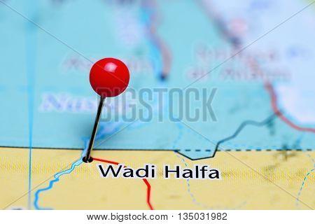 Wadi Halfa pinned on a map of Sudan