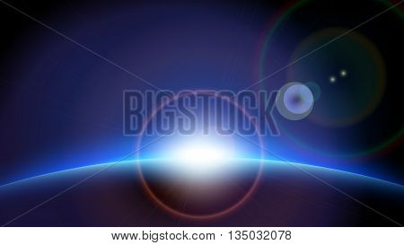 illstration of planet with sun spots in space