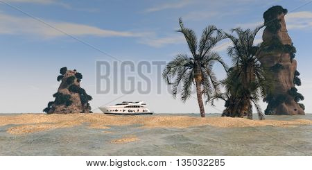 3d illustration of the tropic island with cliffs