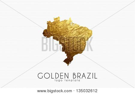 Brazil map. Golden Brazil logo. Creative Brazil logo design