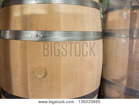 New Barrel and Wrapped Barrel before being filled at a bourbon distillery