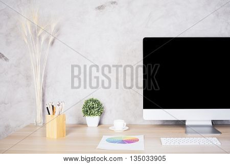 Creative Desk With Computer Monitor