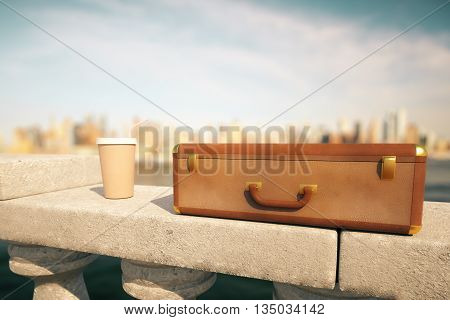 Clouseup of closed suitcase and coffee cup with straw on concrete bridge railing with bright blurry city in the background. 3D Rendering