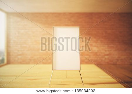 Blank whiteboard stand in blurry interior with wooden floor brick wall and sunlight. Mock up 3D Rendering