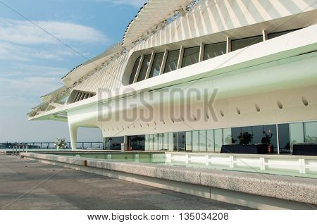 Rio de Janeiro, Brazil - June 1, 2016: Museum of Tomorrow, designed by Spanish architect Santiago Calatrava, in Maua square