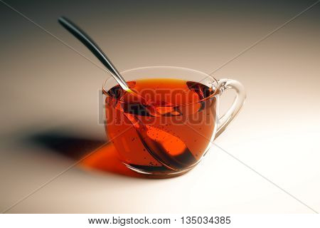 Transparent cup of tea with spoon on light table. Closeup 3D Rendering
