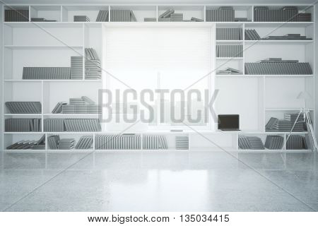 Creative interior with built-in bookcase blank laptop concrete floor and window with city view. 3D Rendering