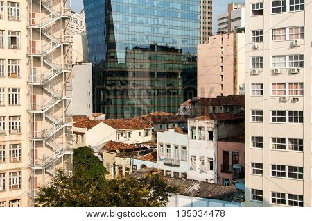 Old 70's architecture commercial buildings in downtown of Rio de Janeiro