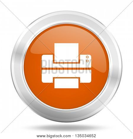 printer vector icon, orange circle metallic chrome internet button, web and mobile app illustration