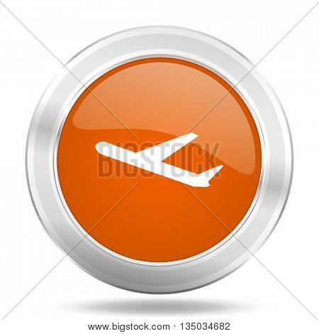 deparures vector icon, orange circle metallic chrome internet button, web and mobile app illustration