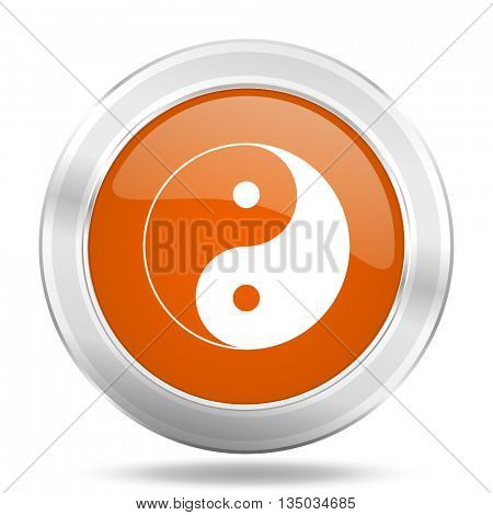 yin yang vector icon, orange circle metallic chrome internet button, web and mobile app illustration