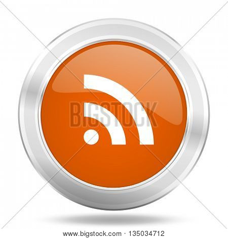 rss vector icon, orange circle metallic chrome internet button, web and mobile app illustration