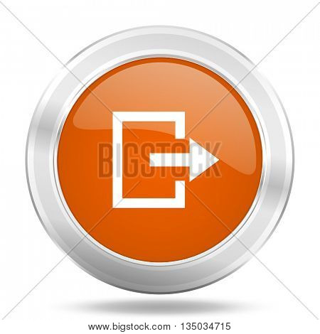 exit vector icon, orange circle metallic chrome internet button, web and mobile app illustration