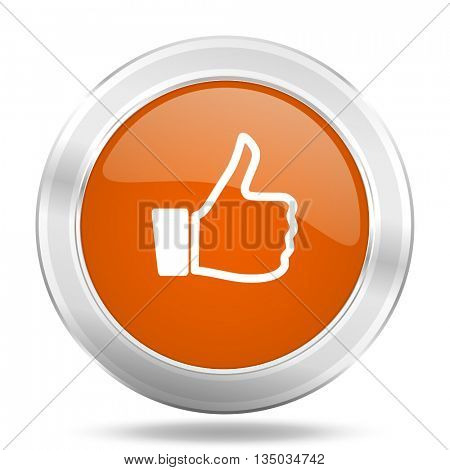 like vector icon, orange circle metallic chrome internet button, web and mobile app illustration