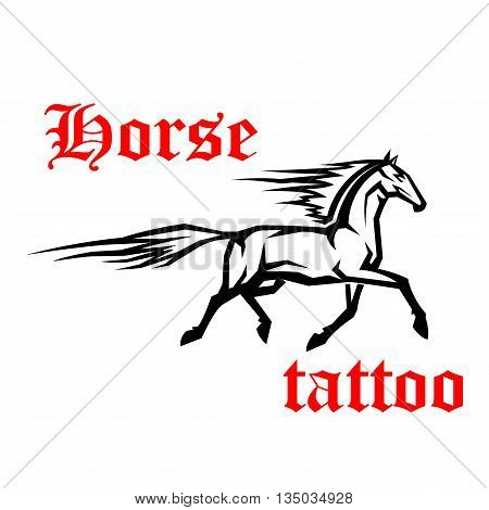 Simple geometrical sketch drawing of galloping arabian horse with motion trails of flying tail and mane. Use as tattoo or horse breeding symbol design