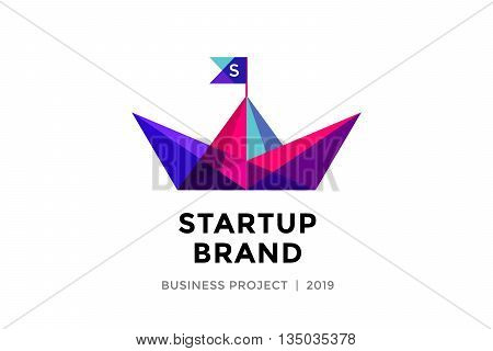 Logo for startup project with inscription Startup Brand - Business project. Logo template of colorful paper boat. Business concept and identity symbol. Startup graphic design concept. Vector Illustration