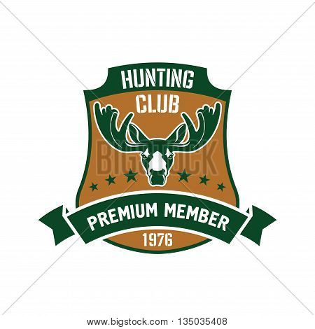 Heraldic symbol in a shape of a shield for hunting club membership badge design usage with a head of elk and ribbon banner with stars