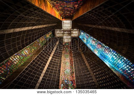 Rio de Janeiro, Brazil - June 13, 2016: Unique interior of the Cathedral Metropolitana. Finished in 1979, the cathedral is about 80 meters high.