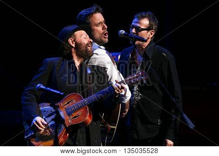 NEW YORK-APR 30: Charles Esten (C) performs onstage during the 'Nashville' Tour at The Beacon Theater on April 30, 2015 in New York City.