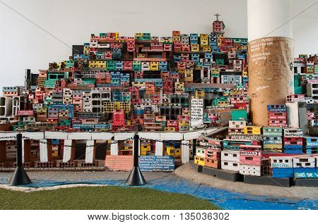 Rio de Janeiro, Brazil - June 1, 2016: Miniature depiction of a colorful favela community, part of the Projecto Morrinho social project.