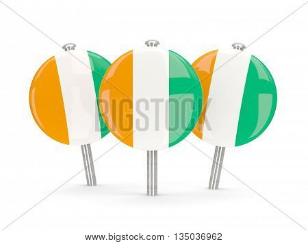 Flag Of Cote D Ivoire, Round Pins