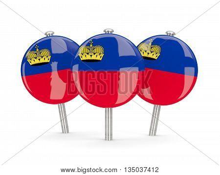 Flag Of Liechtenstein, Round Pins