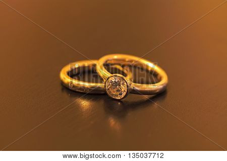 Diamond engagement ring and wedding band before the ceremony