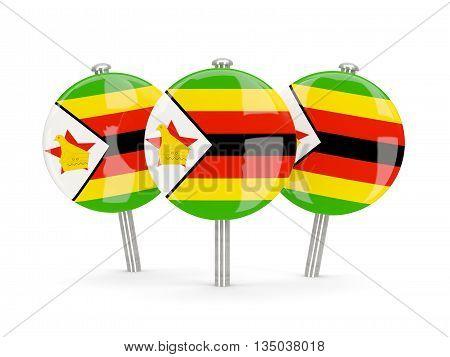 Flag Of Zimbabwe, Round Pins
