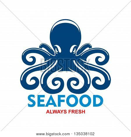 Giant pacific reef octopus icon for seafood badge template for restaurant or cafe menu design usage with blue mollusk with long and curled tentacles