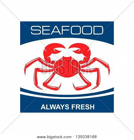 Fresh seafood bar badge design template with red symbol of wild atlantic snow crab. Great for kitchen accessories or food packaging design