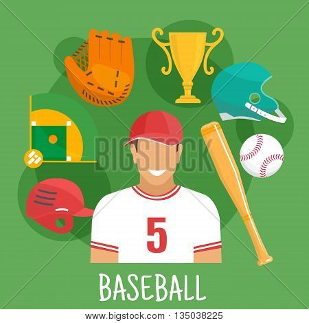 Baseball batter in sporting uniform and cap flat icon for sports competition design usage with symbols of ball, bat, protective helmets and catcher glove, trophy cup and baseball field