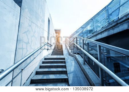 modern city style staircase with lights