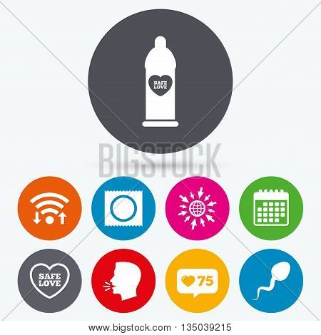 Wifi, like counter and calendar icons. Safe sex love icons. Condom in package symbol. Sperm sign. Fertilization or insemination. Human talk, go to web.